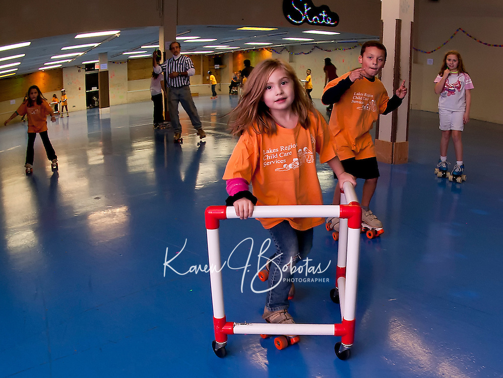 Lakes Region Child Care Services joined in on the fun at Skate Escape during the 24 hour Skate a Thon Friday evening to benefit the WLNH Children's Auction.   (Karen Bobotas/for the Laconia Daily Sun)
