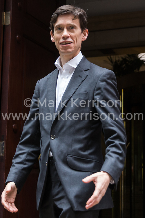 London, UK. 19 June, 2019. Conservative party leadership candidate leaves the BBC's Millbank building in Westminster on the morning of the third ballot for the Conservative Party leadership. The candidate with the lowest number of votes will be eliminated.