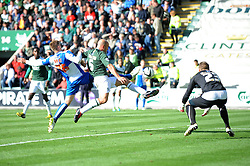 Bristol Rovers' Ryan Brunt attempts to reach the cross  - Photo mandatory by-line: Dougie Allward/JMP - Tel: Mobile: 07966 386802 07/09/2013 - SPORT - FOOTBALL -  Home Park - Plymouth - Plymouth Argyle V Bristol Rovers - Sky Bet League Two