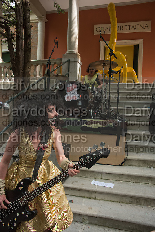 TERRY NIXON FROM 100 % BEEF COCK AND THE TITS BURSTER,  OPENING THE SARAH LUCAS EXHIBITION AT THE BRITISH PAVILION, Venice Biennale, Venice. 6 May 2015