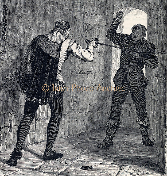 Renard has Nightgall at his mercy.   Illustration for 'The Tower of London', by Harrison Ainsworth.