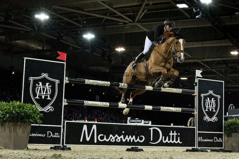 Pilar Lucrecia Cordon, on Nuage Bleu competes during Massimo Dutti Trophy  at the Longines Masters of Hong Kong on 21 February 2016 at the Asia World Expo in Hong Kong, China. Photo by Juan Manuel Serrano / Power Sport Images