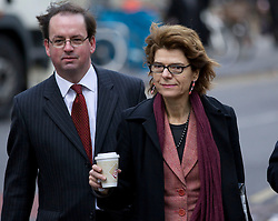 © Licensed to London News Pictures. 04/02/2013. London, UK. Economist Vicky Pryce (R) arrives at Southwark Crown Court in London today (04/02/13) at the start of a hearing where she faces charges of perverting the course of justice involving her ex-husband Chris Huhne and a 2003 speeding case. Photo credit: Matt Cetti-Roberts/LNP