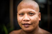 27 NOVEMBER 2012 - BANGKOK THAILAND: Portrait of a monk at Wat Sri Boonreung on Klong Saen Saeb in Bangkok, Thailand.      PHOTO BY JACK KURTZ
