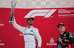 May 13, 2018 - Barcelona, Spain - Lewis Hamilton, team Mercedes, and Max Verstappen, team Red Bull, in the podium of the GP Spain F1, on 13th May 2018 in Barcelona, Spain. (Credit Image: © Joan Valls/NurPhoto via ZUMA Press)