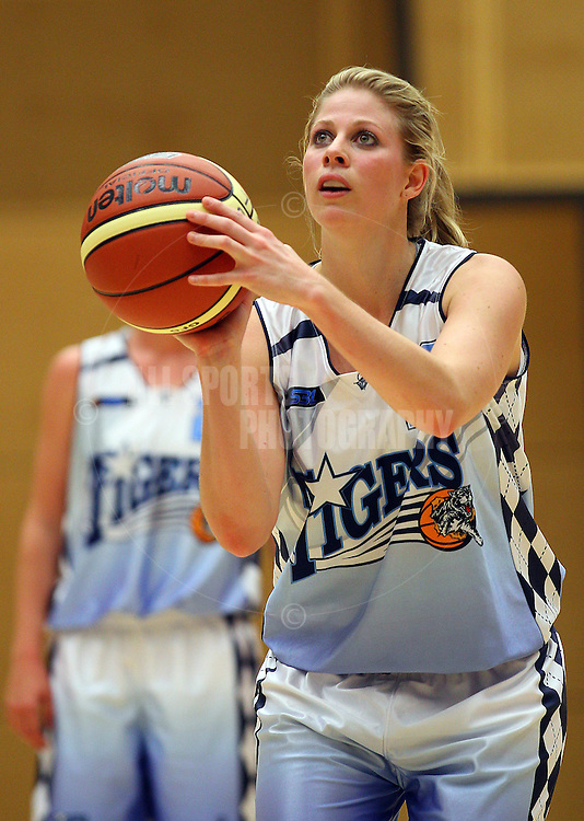 PERTH, AUSTRALIA - JULY 16: Melissa Marsh of the Tigers shoots a free throw during the week 18 SBL game between the Perry Lakes Hawks and the Willetton TIgers at The State Basketball Center on July 16, 2011 in Perth, Australia.  (Photo by Paul Kane/All Sports Photography)