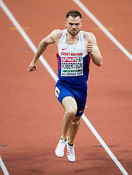 Andrew Robertson of Great Britain competes in the 60m Men heats on day two of the 2017 European Athletics Indoor Championships at the Kombank Arena on March 4, 2017 in Belgrade, Serbia. Photo by Vid Ponikvar / Sportida