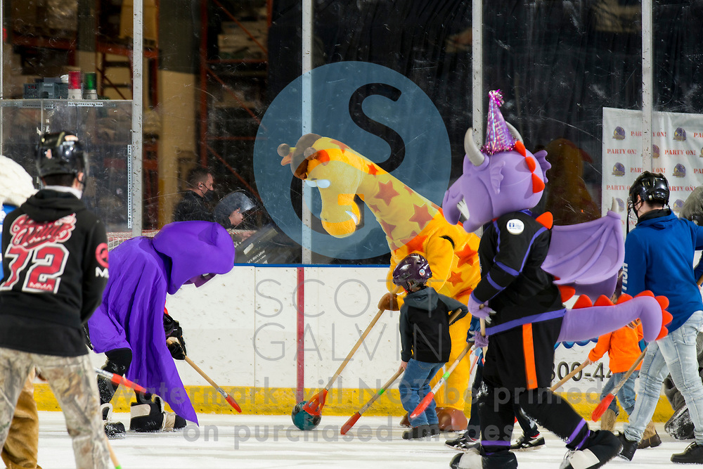 The Youngstown Phantoms defeat the Chicago Steel 5-2 at the Covelli Centre on January 23, 2021.<br /> <br /> Sparky, mascot; Phantom, mascot