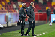 Middlesbrough assistant manager Kevin Blackwell pointing, Middlesbrough manager Neil Warnock during the EFL Sky Bet Championship match between Brentford and Middlesbrough at Brentford Community Stadium, Brentford, England on 7 November 2020.