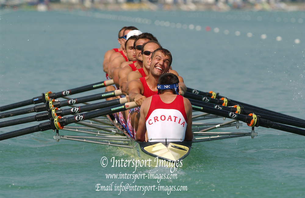 Milan. ITALY CRO M8+ 2003 World Rowing Championships. Idro Scala Rowing Course. [Mandatory Credit: Peter Spurrier: Intersport Images]