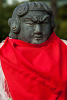 Rakan statues represent the 500 disciples of Buddha. Although many Buddhist sculptures are carved to represent exquisite beauty or terrifying ferociousness, rakan almost always seem to be carved in the spirit of humour and good fun
