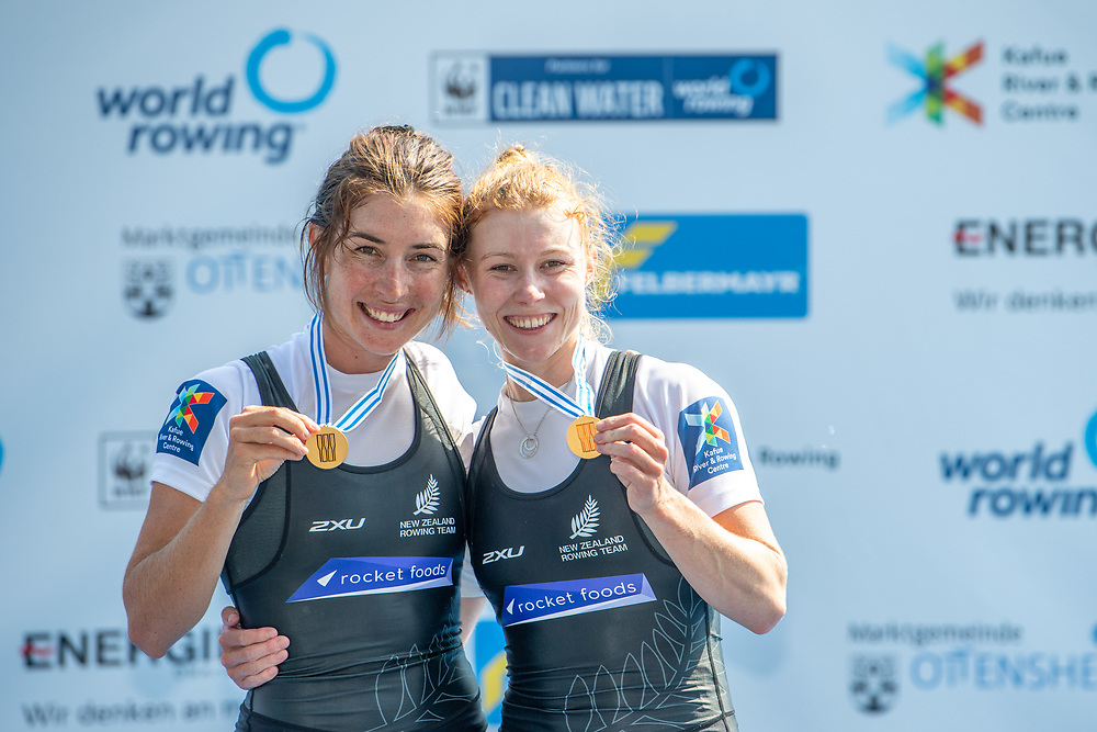 Jackie Kiddle (Star Boating Club) and Zoe McBride (Nelson RC) NZ Womens Lightweight Double Scull<br /> <br /> Finals races at the World Championships, raced on the Regattastrecke, Linz Ottensheim, Austria. Saturday 31 August 2019  © Copyright photo Steve McArthur / www.photosport.nz