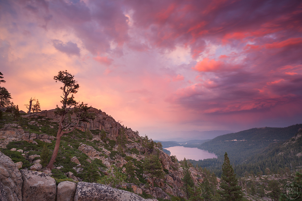 """""""Donner Lake Sunset 21"""" - Photograph of a colorful sunset above Donner Lake in Truckee, California."""