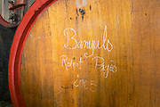 Banyuls Robert Pages 2005. Domaine Madeloc, Banyuls sur Mer. Roussillon. Wooden fermentation and storage tanks. France. Europe.
