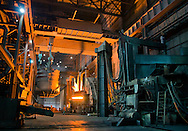 """A 3,000-degree Fahrenheit electric arc furnace prepares to receive a """"charge"""" of scrap metal for conversion into steel at Severstal Columbus, Oct. 22, 2011. Employees' families got an inside glimpse of the entire metallurgical process during an open house and tour of the plant's one million square foot facilities Oct. 22, 2011, during """"Family Day."""" (Photo by Carmen K. Sisson/Cloudybright)"""