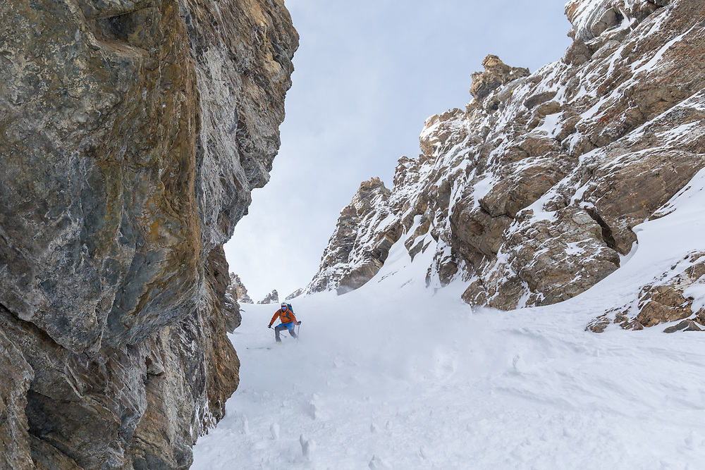 Brandon Parker skiing Pac Man Couloir at Bow Summit in the Canadian Rockies.