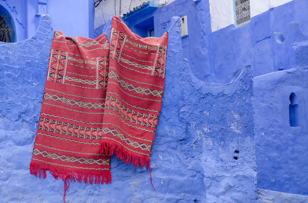 Carpets hanging on the wall in Chefchaouen, Morocco