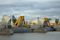 © Licensed to London News Pictures. 06/12/2013. The storm and surge in the North Sea have caused London's Thames Barrier to be shut to protect the capital from high water levels. The closures today and last night are the fiest this year in response to a flood thread. Credit : Rob Powell/LNP