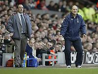 Photo: Aidan Ellis.<br /> Liverpool v Tottenham Hotspur. The Barclays Premiership.<br /> 14/01/2006.<br /> Spurs manager Martin Jol and Liverpool boss Raphael Benitez