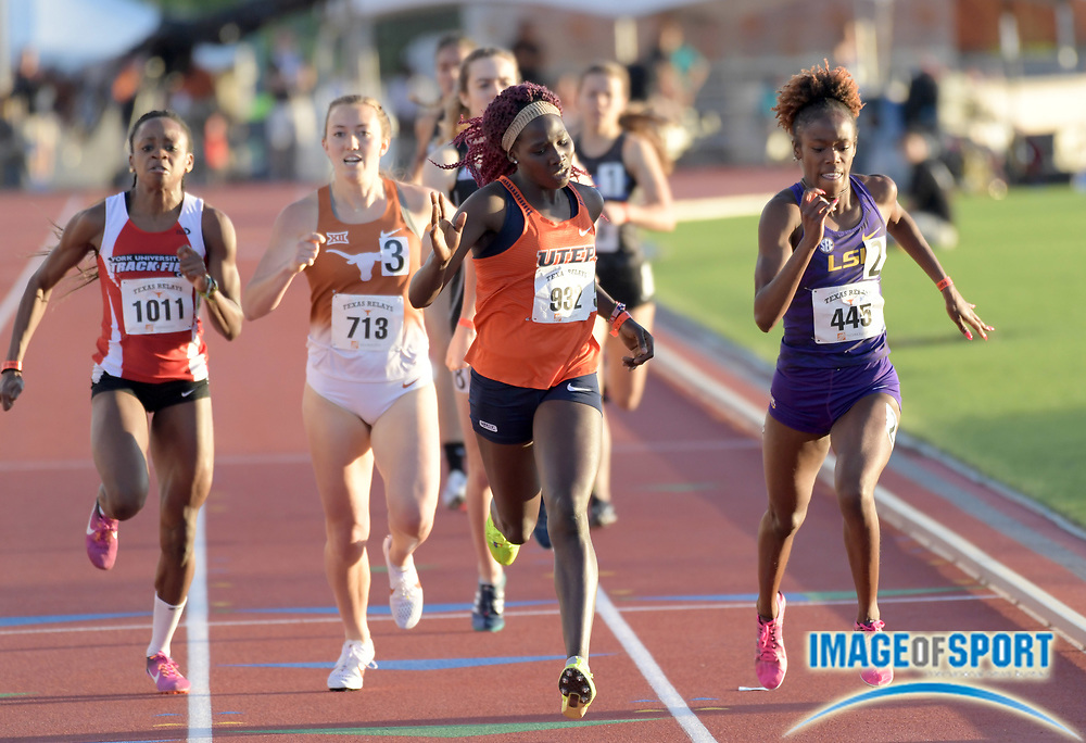 Mar 29, 2018; Austin, TX, USA; Lilian Koech of UTEP (932) defeats Ersula Farrow of LSU (445) to win a women's 800m heat, 2:07.53 to 2:07.59,]]during the 91st Clyde Littlefield Texas Relays at Mike A. Myers Stadium.