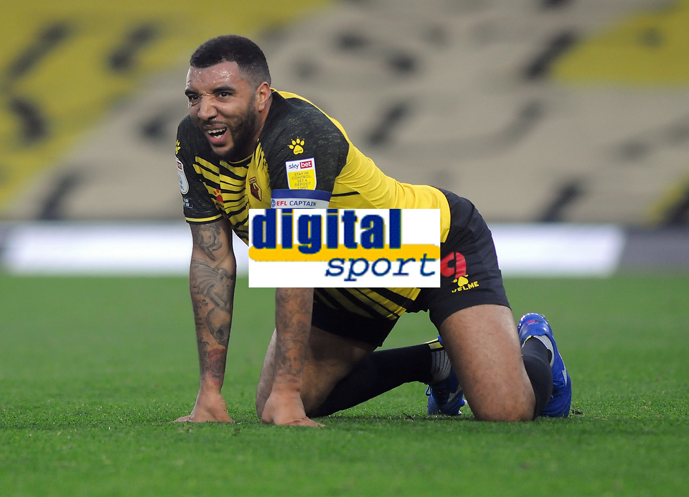 Football - 2020 / 2021 Sky Bet Championship - Watford vs Preston North End - Vicarage Road<br /> <br /> Troy Deeney of Watford feels the pain after getting a ball between his legs<br /> <br /> COLORSPORT/ANDREW COWIE