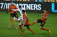 Ki Sung-Yueng of Swansea city © has a shot at goal. The Emirates FA Cup, 3rd round replay match, Swansea city v Wolverhampton Wanderers at the Liberty Stadium in Swansea, South Wales on Wednesday 17th January 2018.<br /> pic by  Andrew Orchard, Andrew Orchard sports photography.