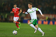 Steven Davis of Northern Ireland in action. Wales v Northern Ireland, International football friendly match at the Cardiff City Stadium in Cardiff, South Wales on Thursday 24th March 2016. The teams are preparing for this summer's Euro 2016 tournament.     pic by  Andrew Orchard, Andrew Orchard sports photography.