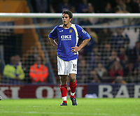 Photo: Lee Earle.<br /> Portsmouth v Wigan Athletic. The Barclays Premiership. 05/11/2005. Portsmouth's Laurent Robert looks dejected after losing at home to Wigan.