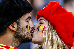 Belgium fan are kissing during the 2018 FIFA World Cup Russia group G match between England and Belgium at the Kalingrad stadium on June 28, 2018 in Kaliningrad, Russia