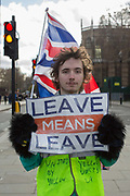 A pro-brexiter man wearing a yellow vest protests outside Houses of Parliament on the 7th February 2019 in Central London in the United Kingdom. The young man travelled from Wivenhoe, Essex, to Central London to campaign for Brexit.