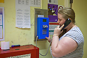 A prisoner makes a family call inside HMP Holloway, the main womens prison in London.