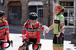 Catching up with old friends, Sheyla Gutierrez and her former teammates - Emakumeen Saria - Durango-Durango 2016. A 113km road race starting and finishing in Durango, Spain on 12th April 2016.