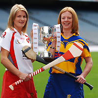 4 September 2007; Camogie captains Deirdre Murphy, from Clooney, Clare, right, with Claire Doherty, from Slaughtneil, Derry, at a photocall ahead of the Gala All-Ireland Senior and Junior Camogie Championship Finals, which will be taking place on Sunday the 9th September 2007. Croke Park, Dublin. Picture credit; Brian Lawless / SPORTSFILE *** NO REPRODUCTION FEE ***