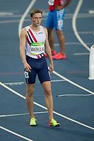 Friidrett<br /> 16. august 2016 <br /> Olympiske leker <br /> Rio de Janeiro <br /> Semifinale 400 meter hekk<br /> Det ble ingen OL-finale på Karsten Warholm. Han ble nummer fire i sitt semifinaleheat på 400 meter hekk med 48.81.<br /> Foto: Astrid M. Nordhaug