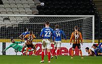 Hull City's Josh Magennis (27) scores an own goal to make the score 2-0<br /> <br /> Photographer Alex Dodd/CameraSport<br /> <br /> The EFL Sky Bet League One - Hull City v Portsmouth - Friday 18th December 2020 - KCOM Stadium - Kingston upon Hull<br /> <br /> World Copyright © 2020 CameraSport. All rights reserved. 43 Linden Ave. Countesthorpe. Leicester. England. LE8 5PG - Tel: +44 (0) 116 277 4147 - admin@camerasport.com - www.camerasport.com