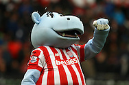 Stoke City mascot Pottermus entertains the fans prior to kick off. Barclays Premier league match, Stoke city v Manchester city at the Britannia Stadium in Stoke on Trent, Staffs on Saturday 5th December 2015.<br /> pic by Chris Stading, Andrew Orchard sports photography.