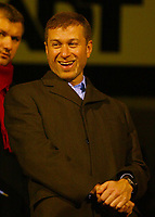 Photo:Scott Heavey/ Digitalsport<br /> Fulham v Chelsea. Carling Cup, Quater Final. <br /> 30/11/2004.<br /> Chelsea owner Roman Abramovic enjoys the game