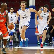 Anadolu Efes's Zoran Planinic (2ndL) during their BEKO Basketball League match Anadolu Efes between Banvit at Abdi Ipekci Arena in Istanbul Turkey on Sunday 05 January 2014. Photo by TURKPIX