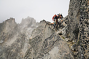 Climbers Brian Polagye and Kris Haskins on the West Ridge of Mount Stuart, Alpine Lakes Wilderness, Washington.
