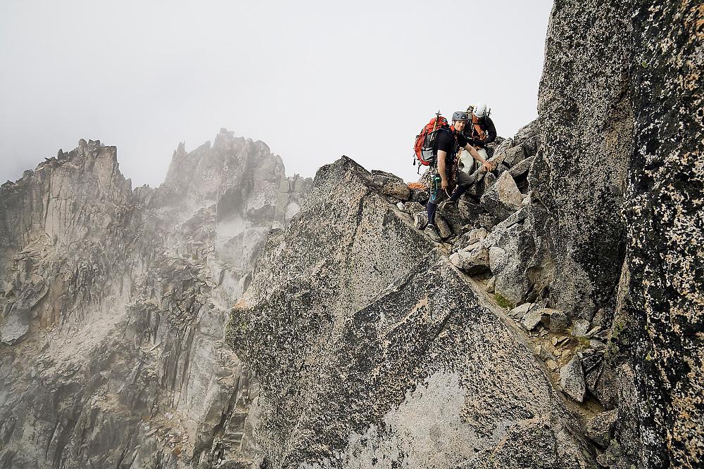 Climbers Brian Polagye and Kris Haskins on the West Ridge of Mount Stuart, Alpine Lakes Wilderness, Washington.