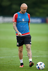 CARDIFF, WALES - Saturday, June 4, 2016: The tattoos of Wales' David Cotterill during a training session at the Vale Resort Hotel ahead of the International Friendly match against Sweden. (Pic by David Rawcliffe/Propaganda)