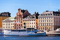 Stockholm, Sweden. Old passenger boats in the city center.
