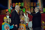 """Moscow, Russia, 10/03/2004..Sergei Mikhalkov, children's poet and composer of the lyrics for both the Russian and Soviet national anthems, is awarded the title """"Man of the Epoch"""" at the Russian National Olympics."""