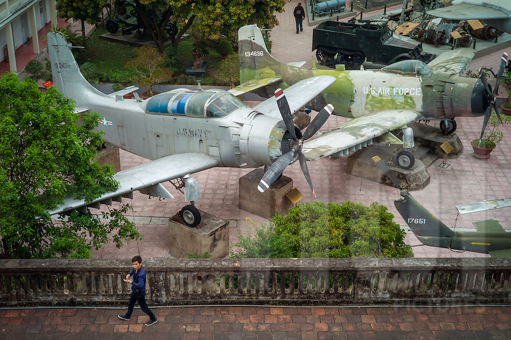 Weathered aircraft displayed at Vietnam Military History Museum, Hanoi, Vietnam, Southeast Asia