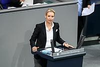11 FEB 2021, BERLIN/GERMANY:<br /> Alice Weidel,  MdB, AfD, Fraktionsvorsitzende der AfD, haelt eine Rede, Debatte nach der  Regierungserklaerung der Bundeskanzlerin zur Bewaeltigung der Corvid-19-Pandemie, Plenum, Reichstagsgebaeude, Deutscher Bundestag<br /> IMAGE: 20210211-01-059<br /> KEYWORDS: Corona