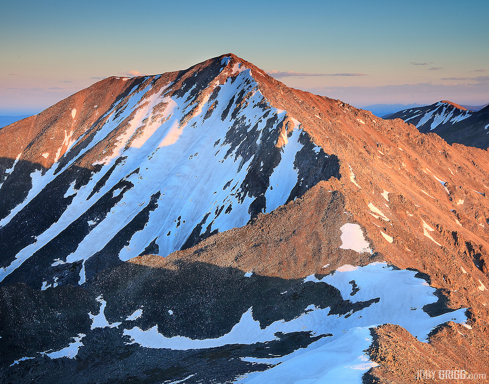 July 7th and snow is still present on the north side of Mount Democrat, Mosquito Range, Colorado.