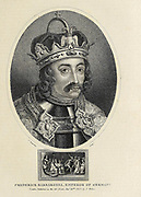 Frederick Barbarossa (1122 – 10 June 1190), also known as Frederick I (Friedrich I, Federico I), was the Holy Roman Emperor from 1155 until his death 35 years later. He was elected King of Germany at Frankfurt on 4 March 1152 and crowned in Aachen on 9 March 1152. He was crowned King of Italy on 24 April 1155 in Pavia and emperor by Pope Adrian IV on 18 June 1155 in Rome. Copperplate engraving From the Encyclopaedia Londinensis or, Universal dictionary of arts, sciences, and literature; Volume VIII;  Edited by Wilkes, John. Published in London in 1810.