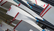 Caversham. Berkshire. UK<br /> Oars/Blades, resting on the pontoon 2016 GBRowing, Para Rowing Media Day, UK GBRowing Training base near Reading, Berkshire.<br /> <br /> Friday  15/04/2016<br /> <br /> [Mandatory Credit; Peter SPURRIER/Intersport-images]