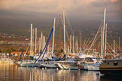 Honokohau Harbor at sunsset, Kona, Big Island, Hawaii, Pacific Ocean