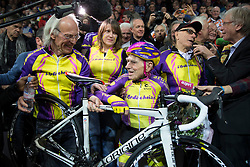 January 5, 2017 - Paris, France - French cyclist Robert Marchand, aged 105, rides on his way to cover 22.528 km (14.08 miles) in one hour to set a new record at the indoor Velodrome National in Montigny-les-Bretonneux, southwest of Paris, France, January 4, 2017. (Credit Image: © Visual via ZUMA Press)